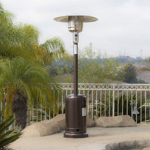 Patio Heater 48,000BTU Premium Outdoor with Wheel LP Propane H, Hammered Bronze