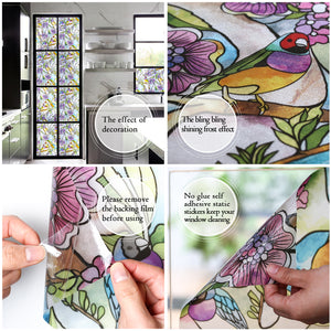 Cottoncolors Brand Window Film Bird Flower Style Privacy Decoration Self Adhesive for UV Blocking Heat Control Glass Stickers,35.4x78.7 Inches