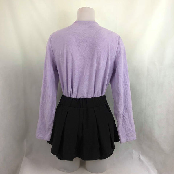 83ef55ed4 ... Purple Sweat Shirt and Black Pleated Skirt with inner short OOTD Set ...