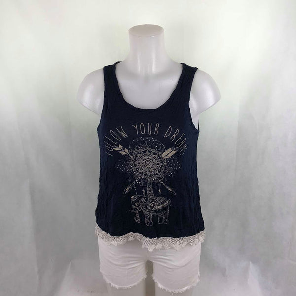 da8ccf42e40c1d Mccnchild Navy Blue Tanktop with lace – Modny Shoppe