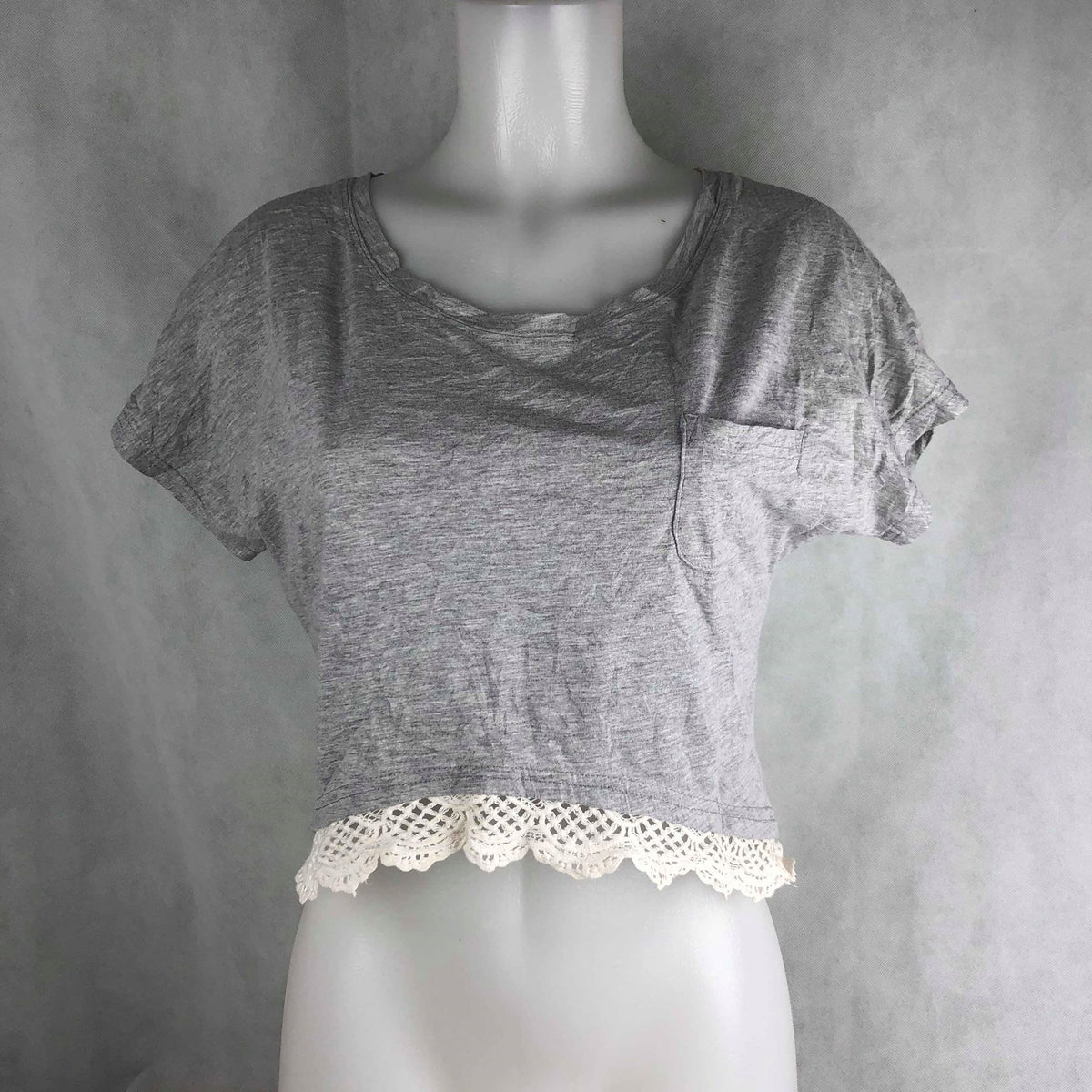 28e980a29b4212 Sanfu Gray Crop Top with Lace – Modny Shoppe