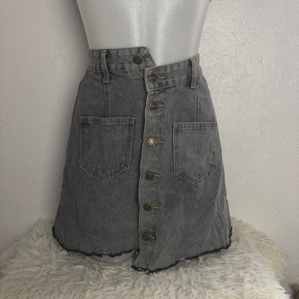 store another chance sale usa online Ash Gray Button Down Denim Skirt – Modny Shoppe