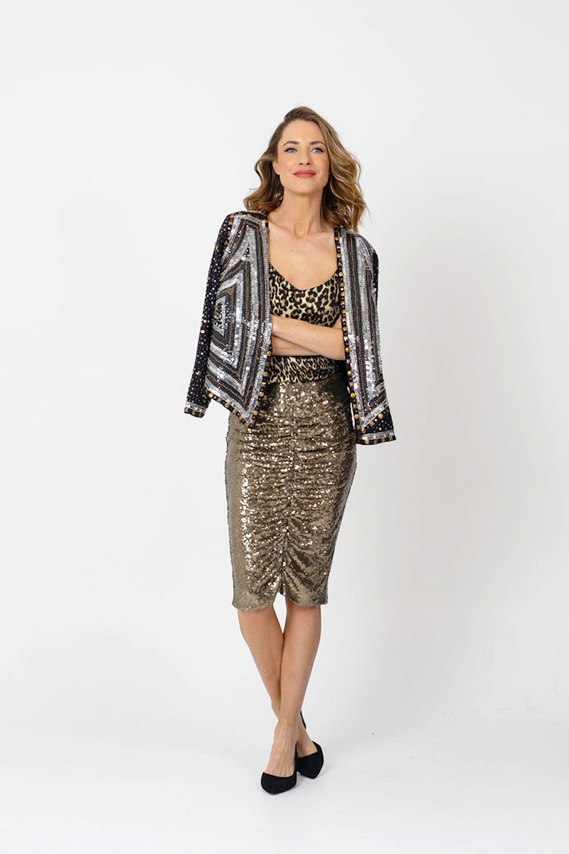 TWINKLE Sequin Skirt - Soft Bronze