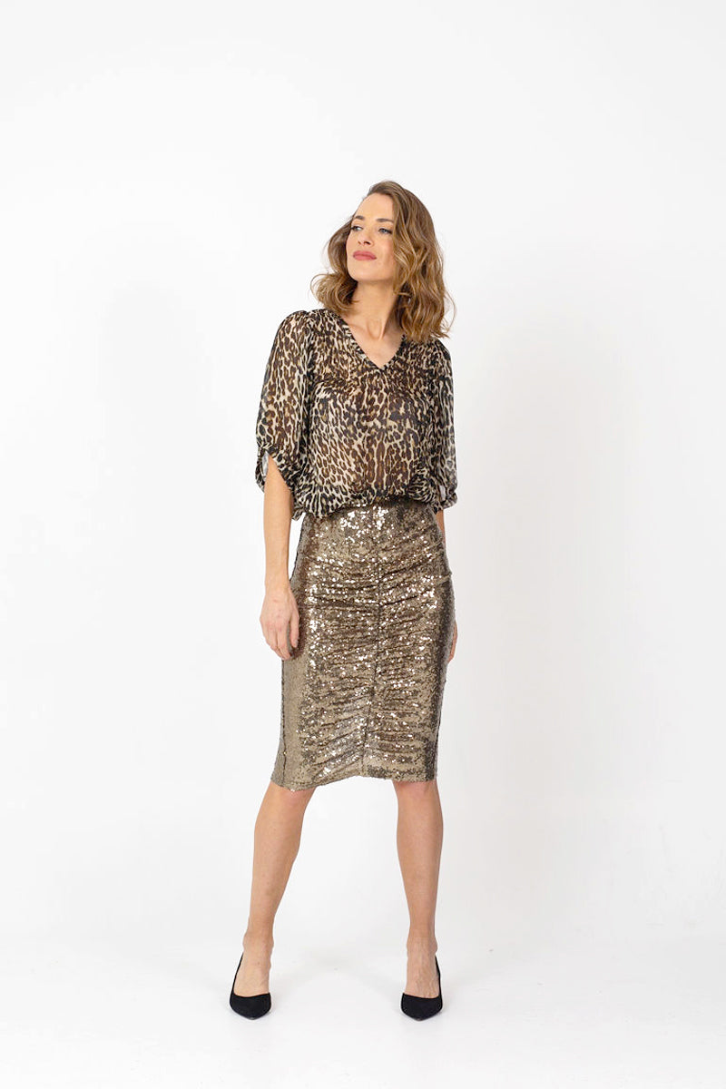 TWINKLE Sequin Skirt - Soft Bronze Sequins