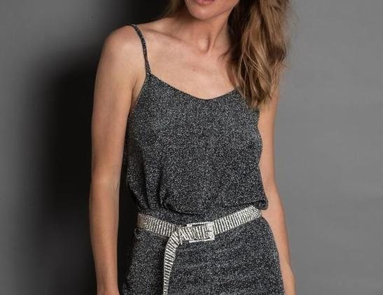 Disco Cami - BLACK with silver lurex