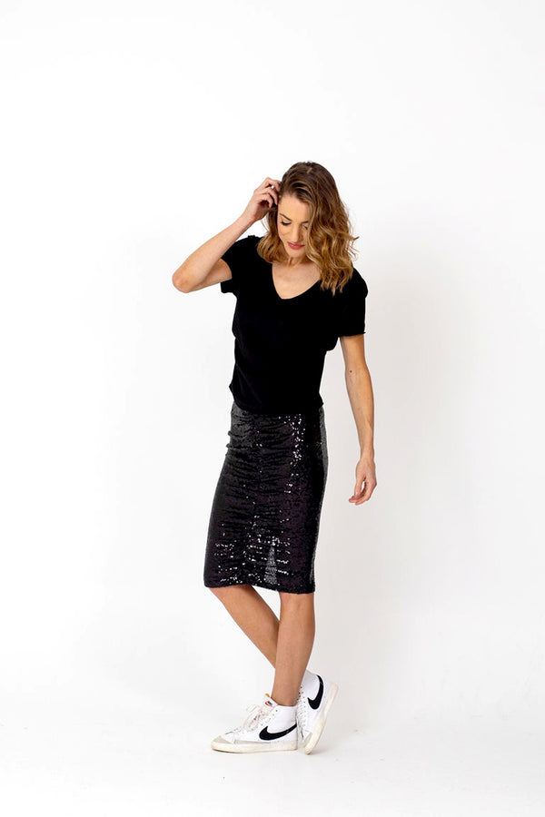 TWINKLE Sequin Skirt - Black