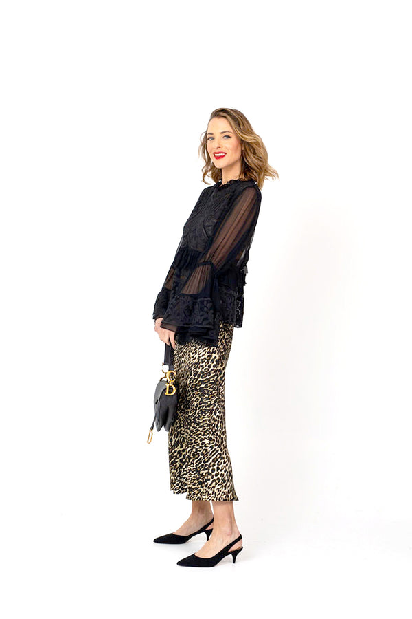 The NYC bias cut Skirt - Leopard Print Silk