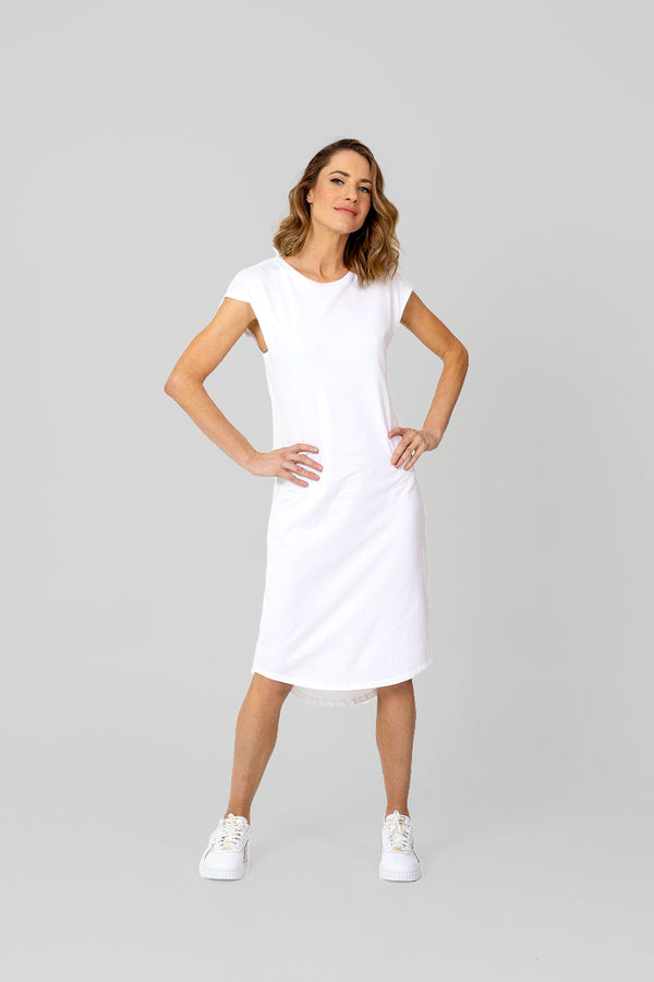 CATALINA Dress - WHITE or GREY, 100% CERT. ORGANIC COTTON.