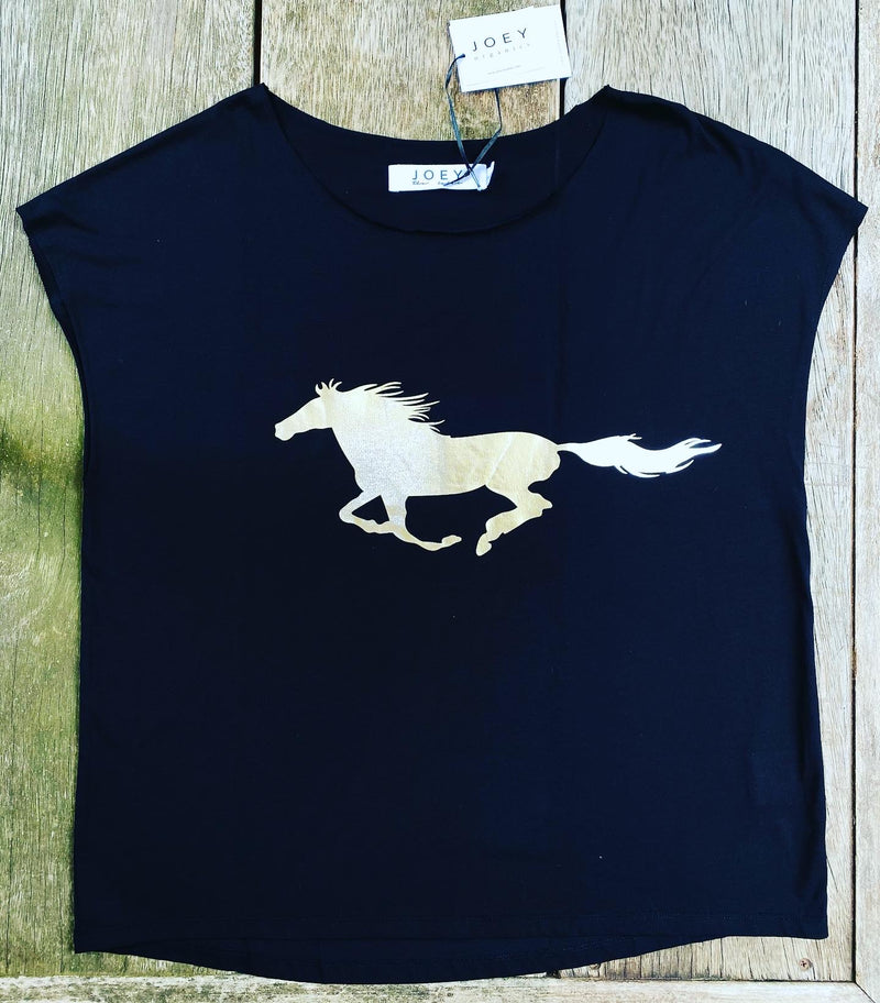 MUSTANG Tee - Black/Silver - 100% Certified Organic Cotton