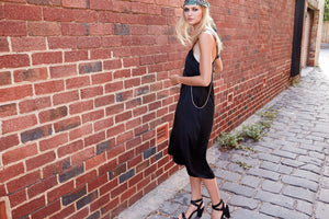 JOEY Silk Slip Dress - BLACK