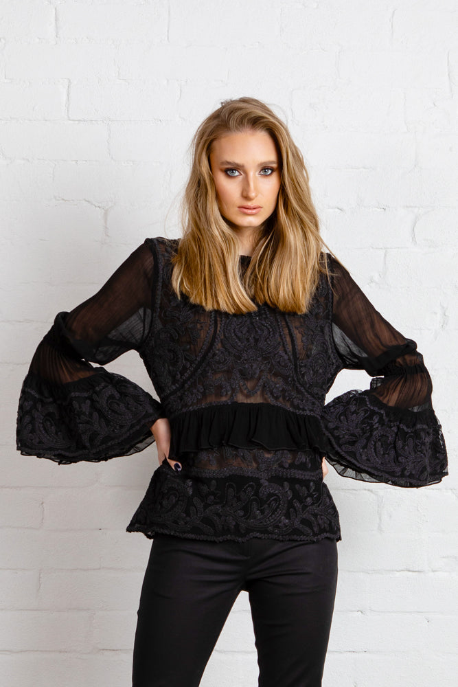 NEW ROMANTIC Blouse - BLACK ***PREORDER NOW FOR END MAY DELIVERY***
