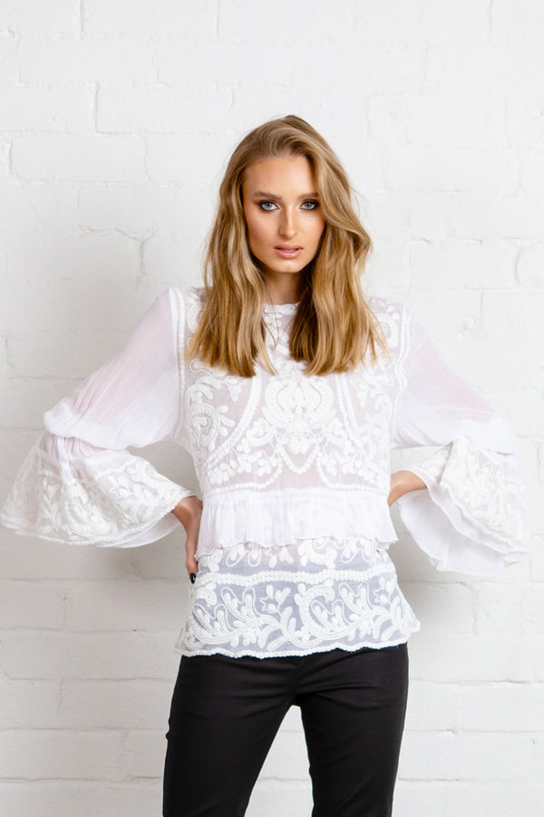 NEW ROMANTIC Blouse - WHITE ***PREORDER FOR END MAY DELIVERY