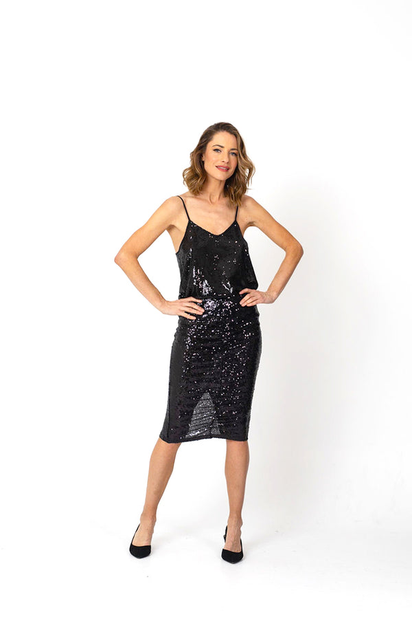 TWINKLE Sequin Cami - Black