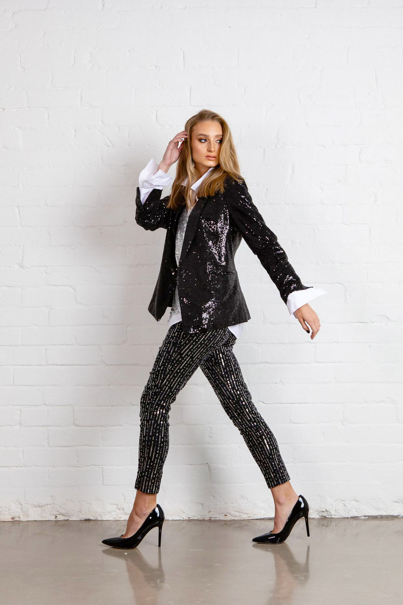 SEQUIN TUXEDO JACKET - Shiny Black ***PREORDER For 1 - 10 MAY DELIVERY***