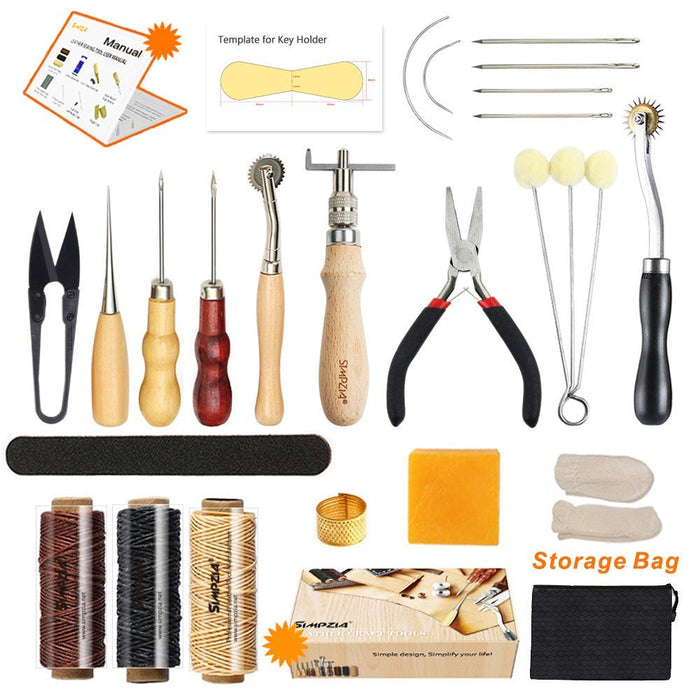 24 Pieces Leather Tools Craft Hand Stitching Kits with Groover Awl Waxed Thimble Thread