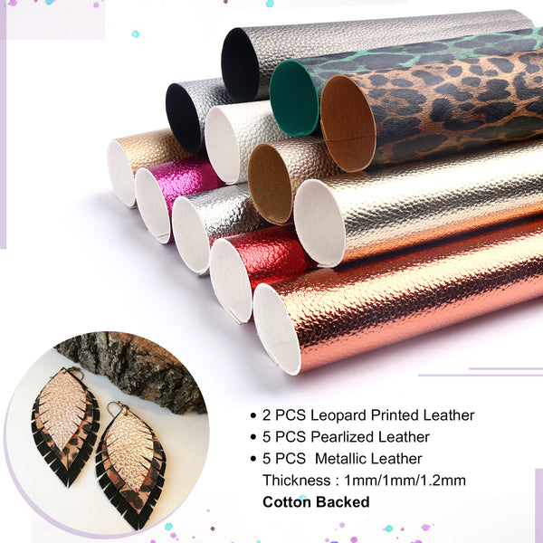 25 PCS A5 Size Faux Leather Sheets, 5 Styles Synthetic Leather Fabric Sheets with Earring Hooks,etc