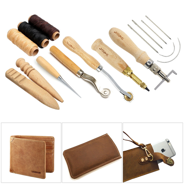 SIMPZIA Leather Craft Tool 31 Pieces Leather Sewing Tools Kit Leather DIY Hand Stitching Tools