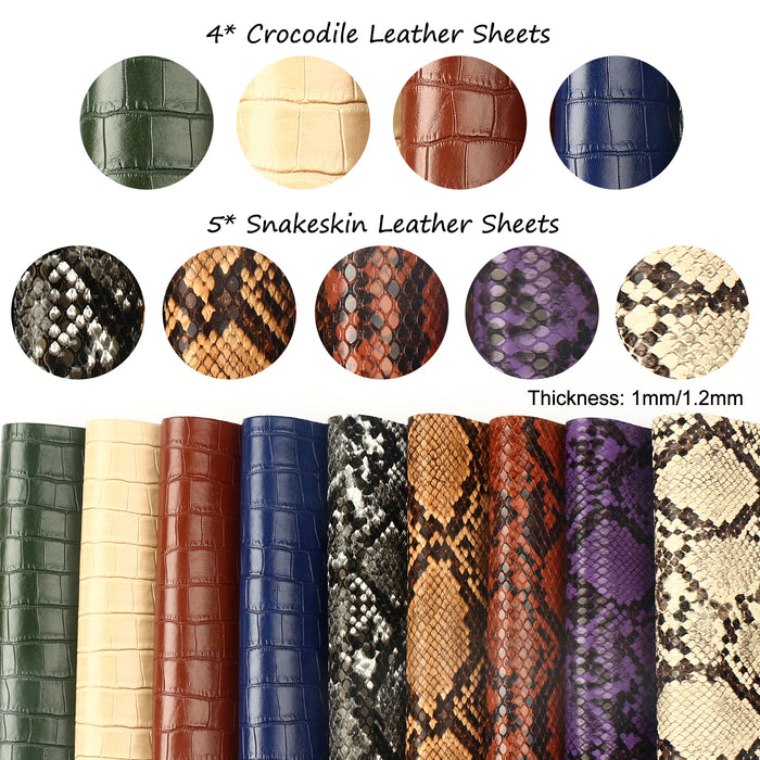 "Faux Leather Sheets Including 4 Styles of Embossed and 2 Kinds of Printed Leather Fabric Sheets (7.8"" x 5.9"") for Earring Making, Crafts DIY"