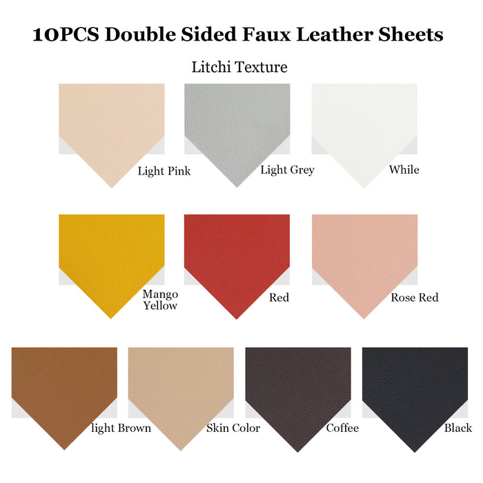 10pcs Metallic Faux Leather Sheets, Litchi Synthetic Leather Sheets etc. for Earring Making Crafts