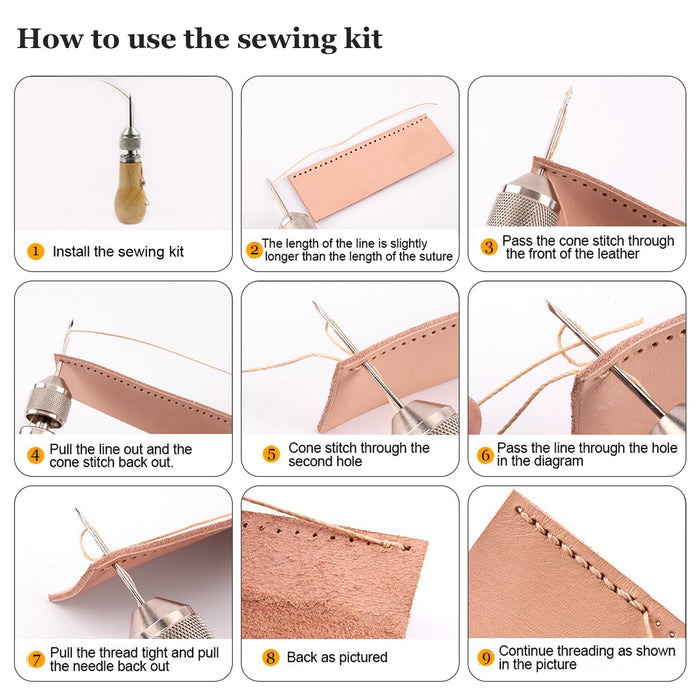 Leather Sewing Tools with Hand Stitcher Sewing Awl Kit