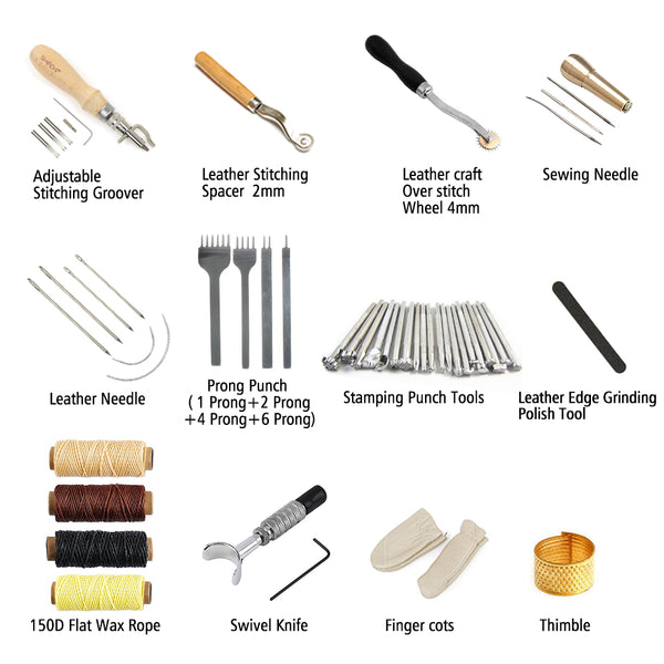 34 Pcs Leather Hand Tools Including 20 Pcs Different Leather Stamps,Adjustable Swivel Knife,Stitching Groover,Prong Punch.