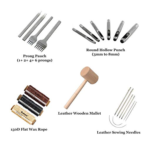 22 PCS  Leather Tools Kit with Diamond Chisel, Hollow Punch Set and Wooden Hammer