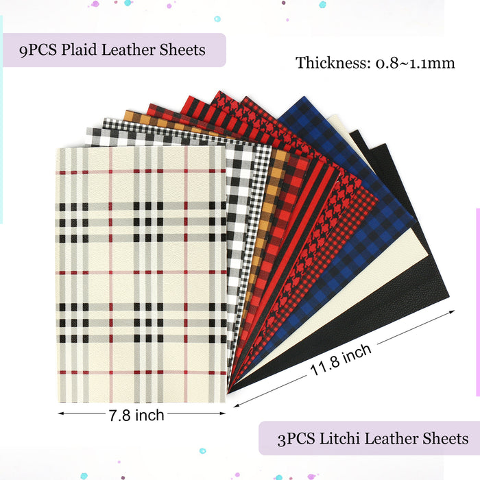 "Plaid Faux Leather Sheets, 12PCS 11.8"" x 7.8"" Canvas Backed for Leather Earring, Bows"