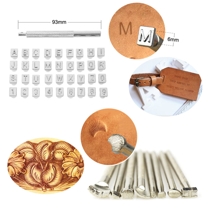 119PCS Leather Tools SIMPZIA Leather Craft Stamping Tools with 36PCS Letter Number Stamps Punch Set, 41PCS Leather Working Saddle Making Tools