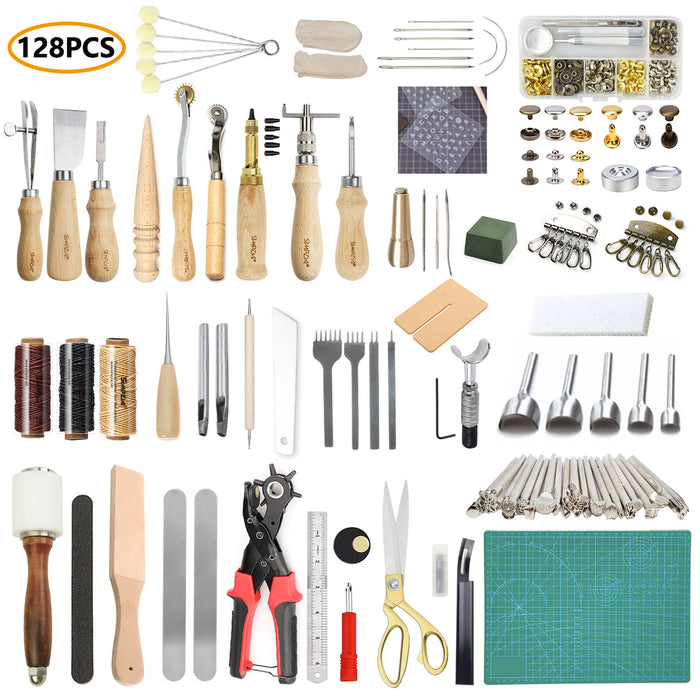 Leather Working Tools 128 pcs Leather Hand Sewing Tools Kit with Prong Punch Edger Creaser Groover Awl