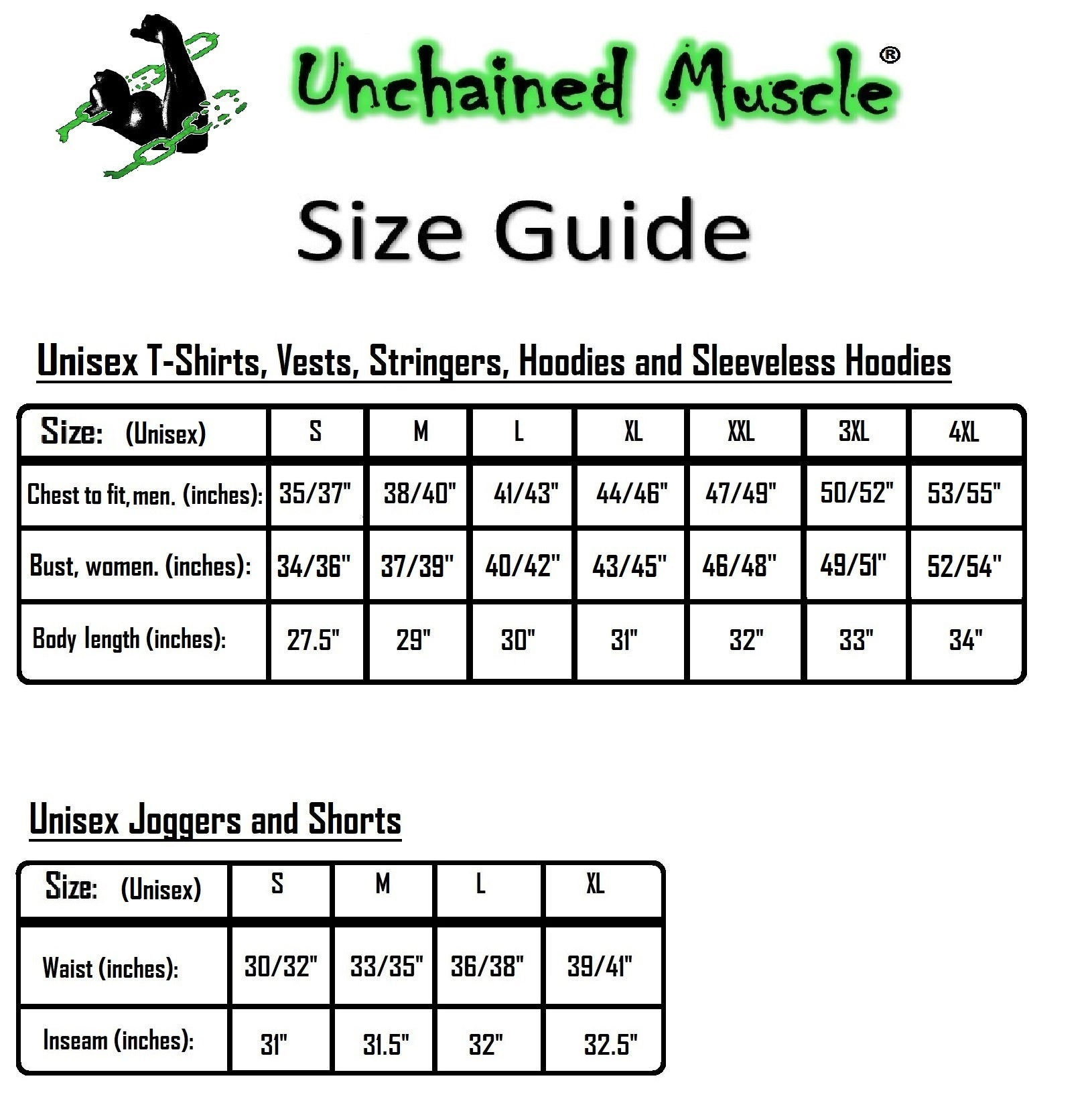 Unchained Muscle Size Guide
