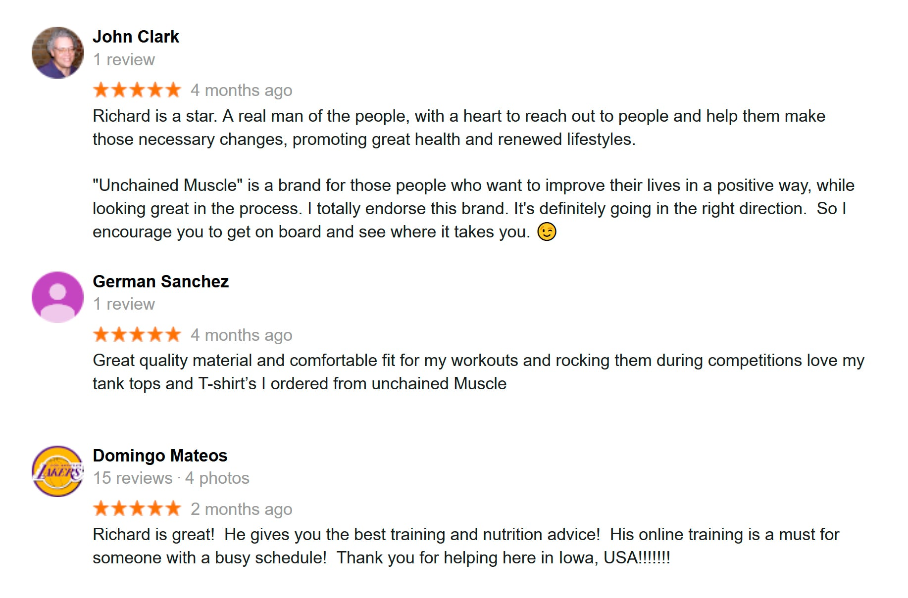 Unchained Muscle Reviews and Testimonials