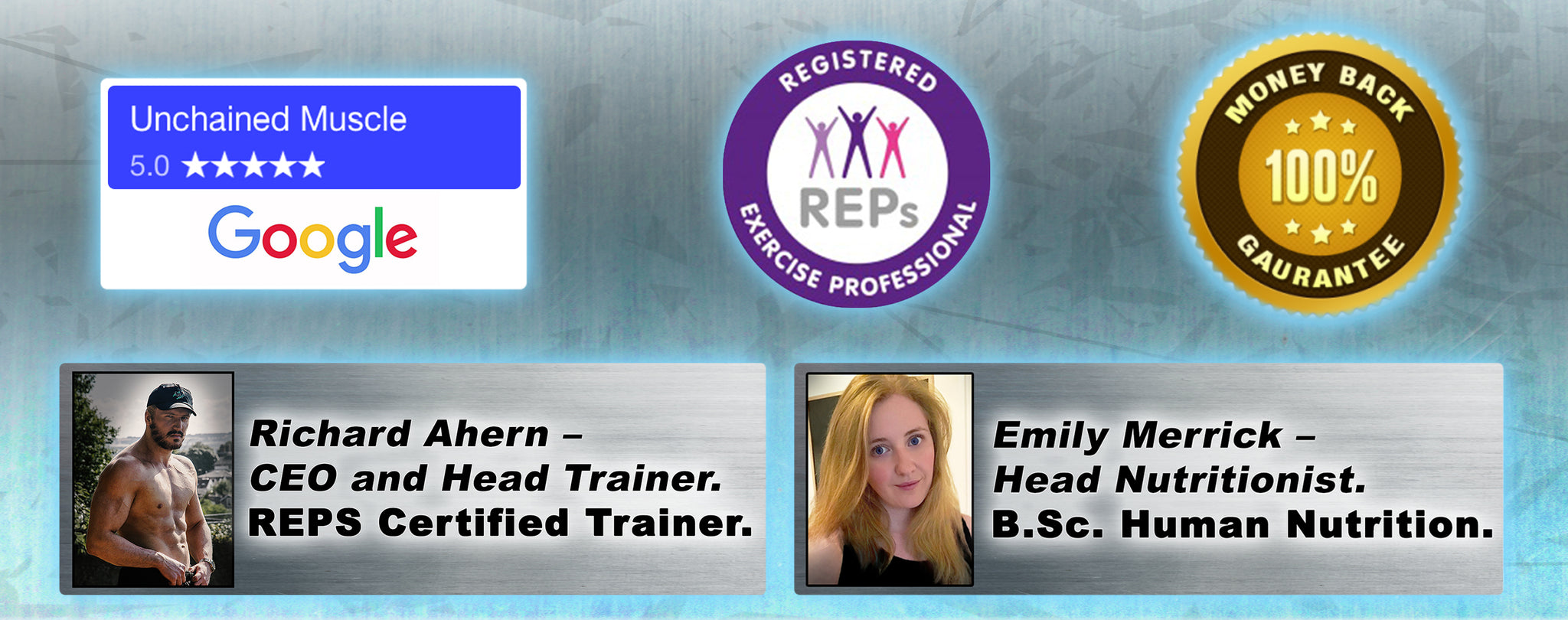 Richard Ahern REPS Certified Trainer. Nutrition Consultant Emily Merrick BSc Nutrition.