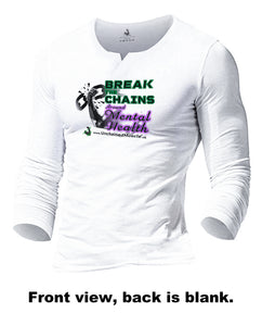 Break The Chains Arctic White Men's Long-Sleeved T-Shirt - Charity Item - Unchained Muscle