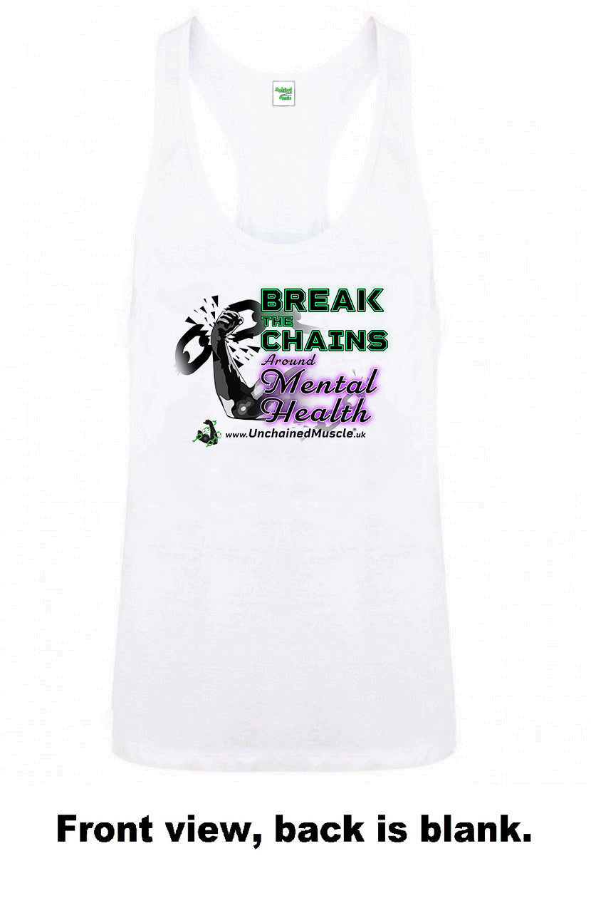 Break The Chains Men's Arctic White Stringer - Charity Item - Unchained Muscle