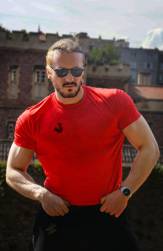 Unchained Muscle Unisex Inferno Red Performance T-Shirt - Unchained Muscle