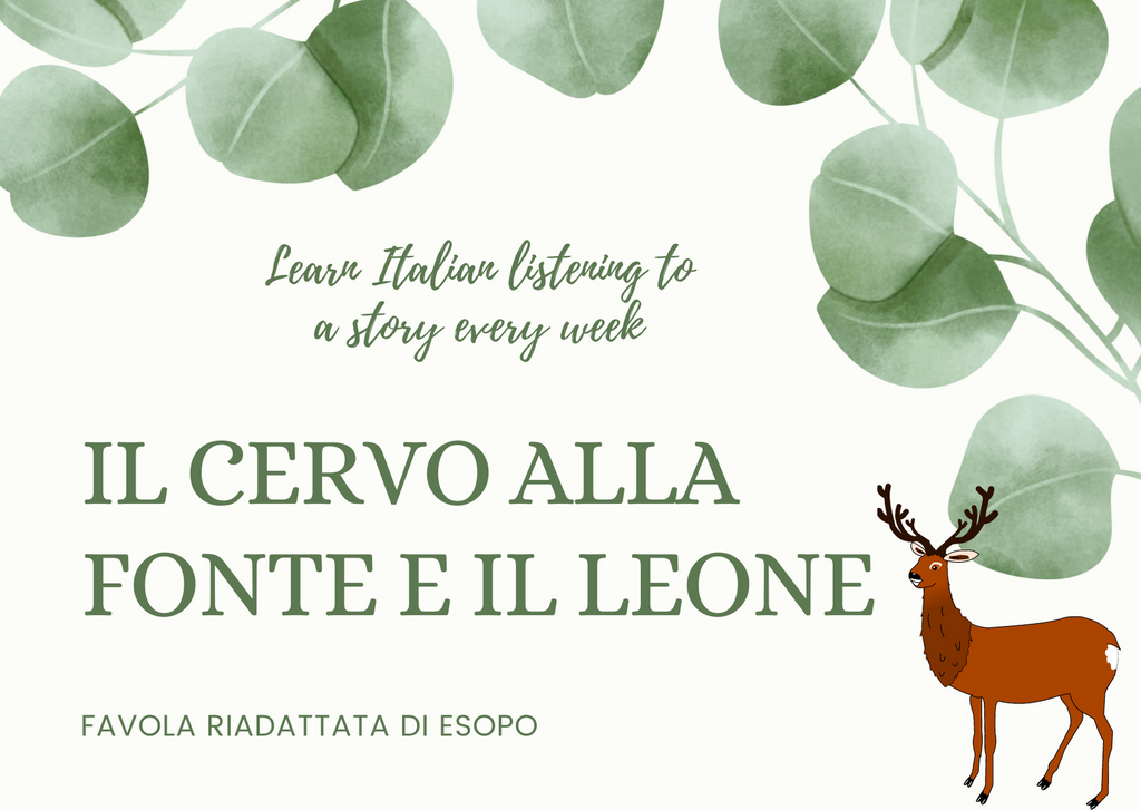 LEARN ITALIAN | Il cervo alla fonte e il leone | Read and Listen to this story to practice your Italian