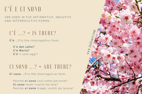 THERE IS and THERE ARE in Italian - Affirmative, negative, interrogative, and interrogative'negative forms.