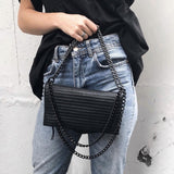 International Noir Desire, Danish Design Bags ND folded pinstripe bag leather #3 - Crossbody & shoulder bag