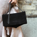 International Noir Desire, Danish Design bags ND folded pinstripe bag suede #1 - Crossbody & shoulder bag