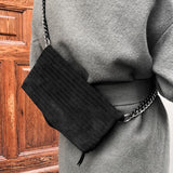 International Noir Desire, Danish Design bags ND folded pinstripe bag suede #3 - Crossbody & shoulder bag