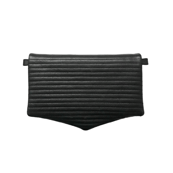 Noir Desire, Danish Design Leather bag ND folded pinstripe bag leather - Clutch, Crossbody, Shoulder bag