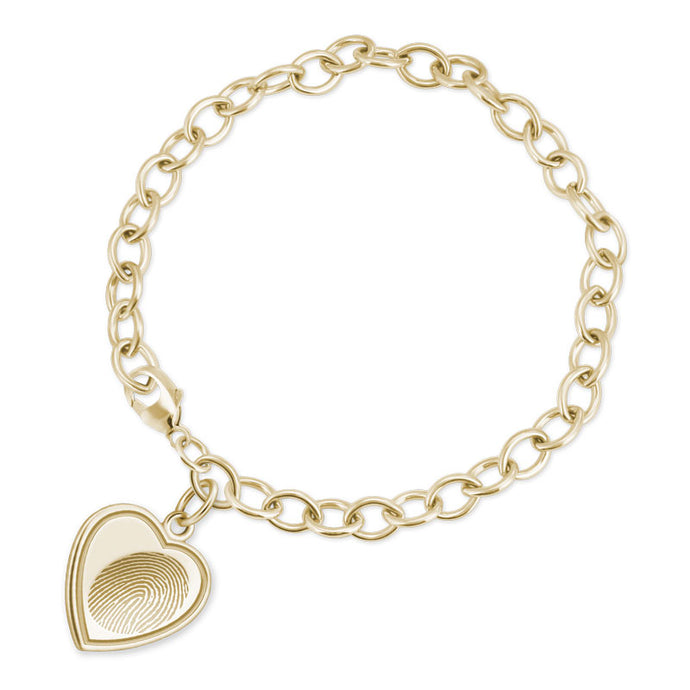 14k Yellow Gold Bracelet with Vertical Heart Charm - Legacy Touch -- Dev