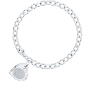 Sterling Silver Bracelet with Offset Heart Charm - Legacy Touch -- Dev