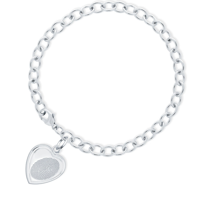 Sterling Silver Bracelet with Vertical Heart Charm - Legacy Touch -- Dev