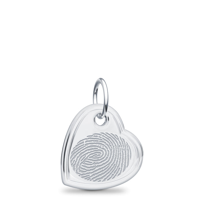 Sterling Silver Offset Heart Charm - Legacy Touch -- Dev