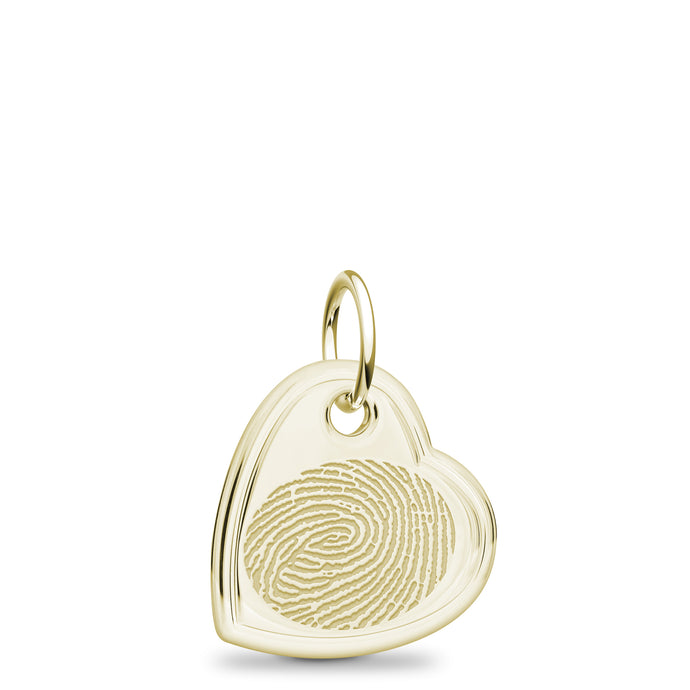 14k Yellow Gold Offset Heart Charm - Legacy Touch -- Dev