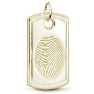 14k Yellow Gold Designer Dog Tag Pendant - Legacy Touch -- Dev