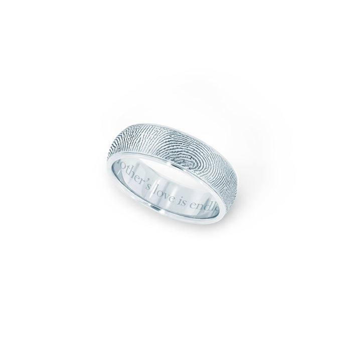 6mm Sterling Silver Half-Round Fingerprint Ring - Legacy Touch -- Dev