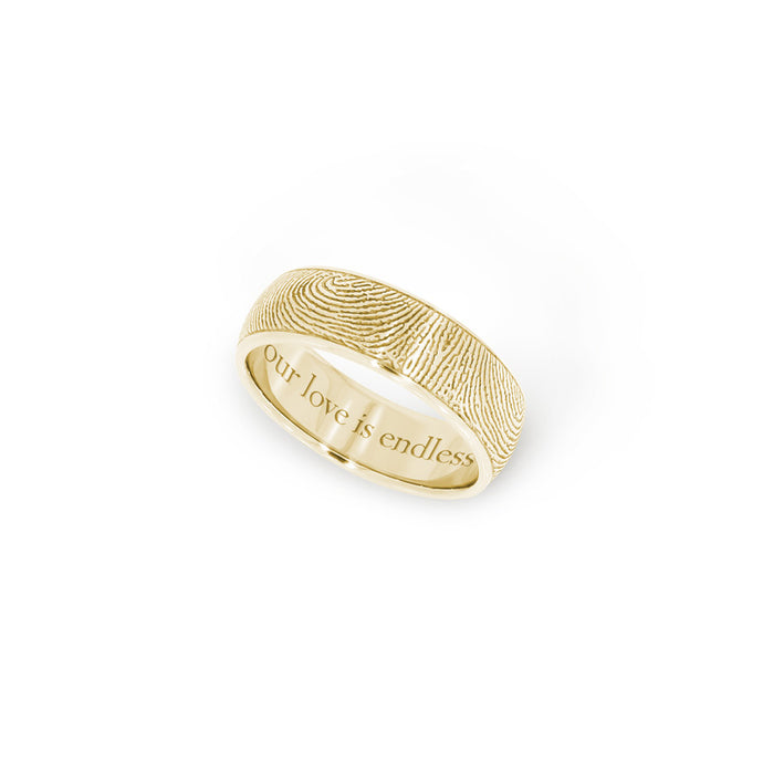 6mm Yellow Gold Half-Round Fingerprint Ring - Legacy Touch -- Dev