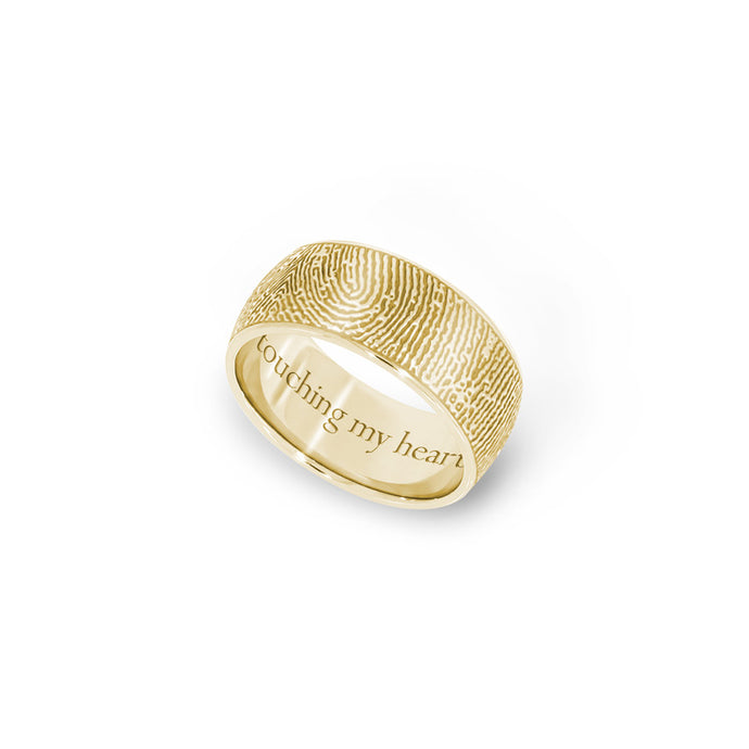 8mm Yellow Gold Half-Round Fingerprint Ring - Legacy Touch -- Dev